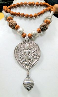 ethnic tribal old silver Bheru pendant necklace with Rudraksha beads -9219