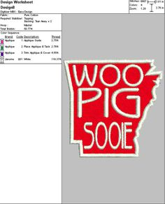 """Check out Embroidery Digital File """"Arkansas Woo Pig Sooie Applique"""" on dixiecharmm"""