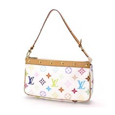 Louis Vuitton Pochette Accessoires Monogram Multicolore Handle bags White Canvas M92649