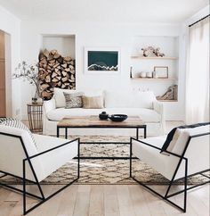 Modern Rustic Living Room Decor: A Rustic Modern Living Room Makeover Living Room Modern, My Living Room, Interior Design Living Room, Home And Living, Living Room Furniture, Living Room Designs, Living Room With Chairs, Neutral Living Rooms, Scandi Living Room