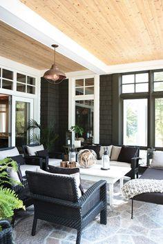 Oh how I want a house with black shingle siding and white windows...