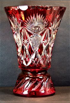 "Pottery & Glass Art Glass Independent Crystal Glass Vase 9.5"" Centerpiece Bud Vase Hand Cut Gold Plated Bohemia Exquisite Traditional Embroidery Art"
