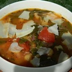 A great Italian soup that incorporates a wide variety of vegetables and is topped with flavorful Parmesan cheese.