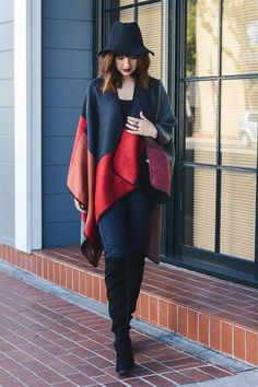 """Color Block Navy Red Poncho - 100% Acrylic - Dimension 51"""" x 56"""""""