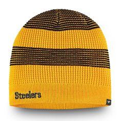 8d684ba913a98 Women s Pittsburgh Steelers NFL Pro Line by Fanatics Branded Gold Waffle Uncuffed  Knit Beanie