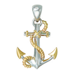 Anchor and propellor 14k two tone gold 3d anchor with propeller anchor pendant mozeypictures Gallery