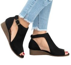 online shopping for Ermonn Womens Cut Out Wedge Sandals Espadrille Peep Toe Ankle Strap Low Heel Sandals from top store. See new offer for Ermonn Womens Cut Out Wedge Sandals Espadrille Peep Toe Ankle Strap Low Heel Sandals Grey Sandals, Chunky Sandals, Low Heel Sandals, Platform Wedge Sandals, Wedge Heels, Women Sandals, Shoes Women, High Heels, Summer Sandals