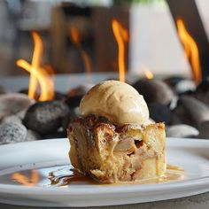 Delicious Bread Brioche Pudding with Salted Caramel Icecream found at The Water Grill Restaurant with locations in Costa Mesa, CA and Los Angeles, CA