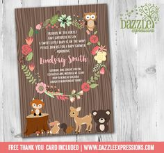 Printable Woodland Baby Shower Invitation | Floral Wreath | Forest Animals | DIY | Digital File | FREE thank you card | Matching Printable Party Package Available |  Banner | Cupcake Toppers | Favor Tag | Food and Drink Labels | Signs |  Candy Bar Wrapper | www.dazzleexpressions.com