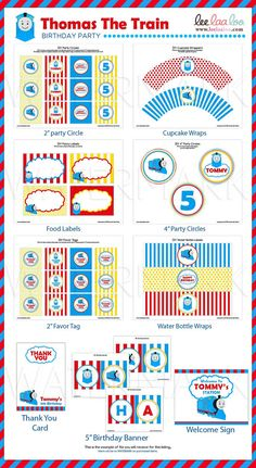 Choo Choo Thomas The Train Birthday Party Package by petitbouh, $35.00