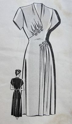 "Mail Order ca. mid to late Misses' Dress Add a photo to the gallery by clicking the ""modify"" button below. Source by lespetitsbeldi Kleider 1940s Dresses, Vintage Dresses, Vintage Outfits, Vintage Clothing, Vintage Dress Patterns, Clothing Patterns, Skirt Patterns, Coat Patterns, Blouse Patterns"