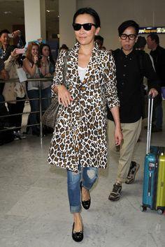 Animal print coat, jeans & flats