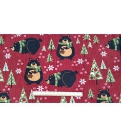 christmas fleece fabric northwoods bears and trees