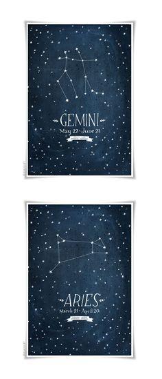Personalizada de impresión del zodiaco Constelación 13 x 19 Por evajuliet