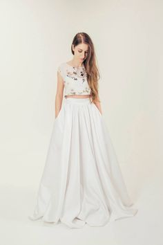 RTW Collection    E&W Couture    Aderyn Printed Crop    Seperates    Bridal Seperates    Alternative wedding dress