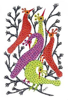 Gond painting - Peacock Family | NOVICA