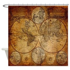 voyage compass vintage world map Shower Curtain on CafePress.com
