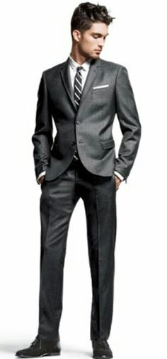 Men's Charcoal Three Piece Suit, White Dress Shirt, Dark Brown
