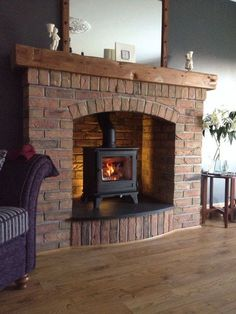 New wood burning stove living room brick 46 IdeasYou can find Wood burning stoves and more on our website.New wood burning stove living room brick 46 Ideas Wood Stove Surround, Wood Stove Hearth, Wood Burner Fireplace, Inglenook Fireplace, Brick Fireplace, Fireplace Design, Wood Burning Stove Corner, Log Burner Living Room, Cottage Fireplace