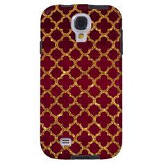 Chic Gold Glitter Quatrefoil Girly Red Burgundy Galaxy S4 Case