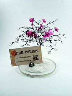 Winter Red Blossom Sculpture Tree with Bird Nest - Home Decoration / Business Card Holder / Photo Display