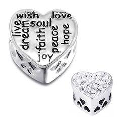 "925 Sterling Silver ""Wish Love Live Dream Faith Joy Peace Hope"" Charm Bead Fits Pandora Troll Biagi Chamilia Charm Bead Bracelet inBLISS http://www.amazon.com/dp/B00D2IVB32/ref=cm_sw_r_pi_dp_w.nLub0GMJ4CJ"