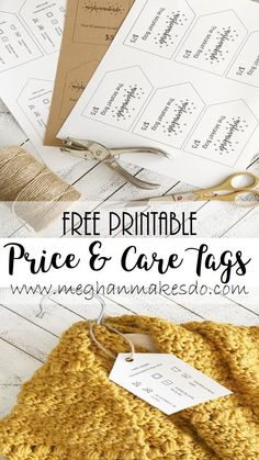 Free Printable Price & Care Tags — Meghan Makes Do free printable price tags, care tags, free price tags, free customizable price and care tags, craft show tags Printable Crafts, Templates Printable Free, Printable Labels, Free Printables, Crochet Craft Fair, Crochet Gifts, Diy Crochet, Crochet Ideas, Crochet Projects