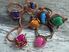 Lot of Seven Pieces Wire Wrapped Adjustable by AncientEthnic