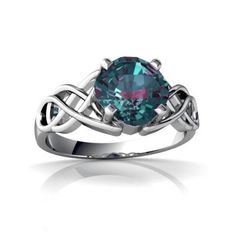 Amazon.com: 14K White Gold Cushion Created Alexandrite Celtic Claddagh Knot Ring: Jewelry
