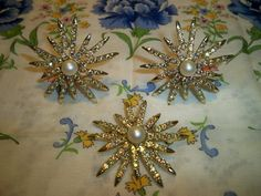 Vintage Emmons Sunburst Brooch and Earrings Book Piece.