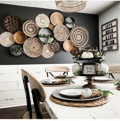 Home Interior Decoration .Home Interior Decoration Boho Living Room, Home And Living, Living Room Decor, Dining Room, Dark Accent Walls, Baskets On Wall, Plates On Wall, Cheap Home Decor, Home Remodeling