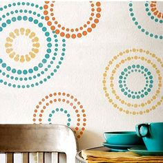 Stenciled retro circles are all the rage! So easy too!
