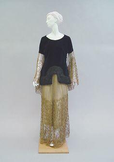 Evening ensemble (image 1)   House of Poiret   French   1924   cotton, fur, metallic thread, silk   Metropolitan Museum of Art   Accession Number: 1978.367.3a, b