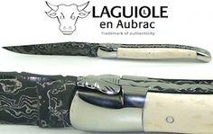 Laguiole en Aubrac Taschenmesser 12cm, Elfenbein, Damast 300 Lagen, geschmiedet www.lennertz.de