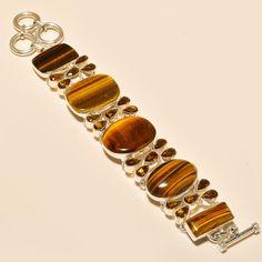 "YELLOW TIGER'S EYE , SMOKEY TOPAZ 925 STERLING SILVER BRACELET 7-8"" in Jewellery & Watches, Fine Jewellery, Fine Bracelets   eBay"
