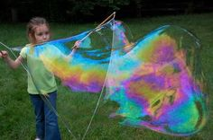 Giant bubble wands and recipe for bubble solution in comments. Great idea for a summer bucket list