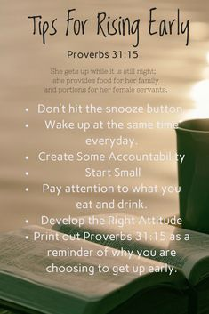 Proverbs 31 Woman Discover rising early what the bible says Proverbs Morning Glory or Night Owl Rising early. Proverbs Taking a look at what the Bible says about rising early and how to make small changes to have a more productive day. Proverbs 31 Wife, Bible Proverbs, Proverbs 31 Devotions, Proverbs Quotes, Wall Quotes, Bible Quotes, Bible Verses, Jesus Quotes, Lyric Quotes