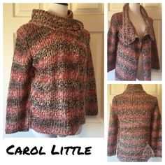 "CAROL LITTLE SWEATER Beautiful Carol Little sweater with metallic threads running throughout, two snaps on each side of the collar and Open down the front with no snaps or buttons. Size Medium and in wonderful condition. 25"" length 20"" sleeves 38"" bust. 65% acrylic 25% 6% nylon 4% metallic. No trades or PayPal. Smoke free home. Thank you for stopping by @treasuresbytrac for a visit  Carole Little Sweaters"