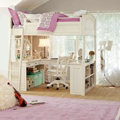 Chelsea Vanity Loft Bed | PBteen- what I wouldn't give to have this for my daughters room!