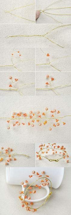 Tutorial on How to Make Tree Branch Wire Bracelet with Orange Beads from LC.Pandahall.com