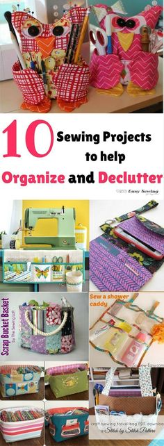 10 Sewing Projects to Help Organize and Declutter - Easy Sewing For Beginners 10 sewing projects to help organize and declutter your life! Diy Sewing Projects, Sewing Projects For Beginners, Sewing Hacks, Sewing Tutorials, Sewing Crafts, Sewing Patterns, Sewing Tips, Sewing Ideas, Skirt Patterns