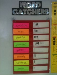 Word Catchers to teach Vocabulary. Fun way to get them to use their vocabulary! Every time you or a student hears someone using one of the words on the list, make a tally mark! Vocabulary Strategies, Vocabulary Instruction, Teaching Vocabulary, Vocabulary Building, Teaching Language Arts, Vocabulary Activities, Classroom Language, Vocabulary Words, Teaching Reading