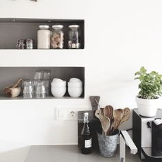kitchen inspiration <3 white, silver + natural wood / herbs / glass jars for storage