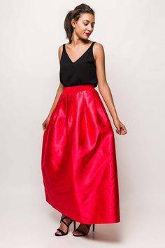 Dlhá elegantná sukňa s červenej farby Waist Skirt, Midi Skirt, High Waisted Skirt, Skirts, Products, Fashion, Moda, Midi Skirts, Skirt