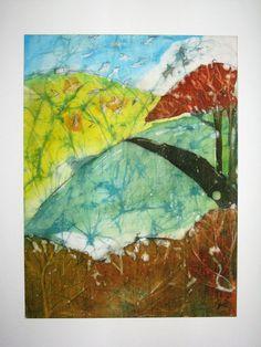 Landscape with trees  original batik 30 cm x 40 cm