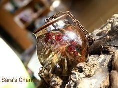 Glaskugelkette Tanne und rote Beeren kupfer von Sara´s Charms auf DaWanda.com