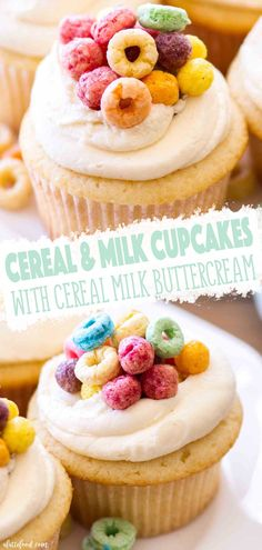 These Cereal and Milk Cupcakes are topped with a cereal milk buttercream. Homemade vanilla cupcakes get a sweet fruit loop cereal milk twist, making these cereal cupcakes a dessert must! Cupcake Flavors, Cupcake Recipes, Baking Recipes, Cupcake Cakes, Dessert Recipes, Dinner Recipes, Dessert Simple, Fluffy Vanilla Cupcake Recipe, Vanilla Cupcakes