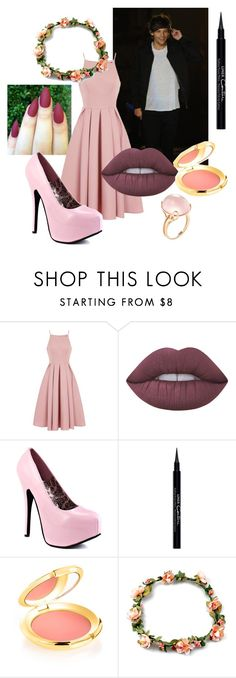 """""""Pink Dinner Date with Louis"""" by mrs-allison-clifford ❤ liked on Polyvore featuring Chi Chi, Lime Crime, Givenchy, Elizabeth Arden and Goshwara"""