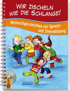 Wir zischeln wie die Schlange! MItmachgeschichten zur Sprech-und Stimmbildung ++ Mit den kurzweiligen #Geschichten zum Mitsprechen und #Mitmachen in diesem Buch wird jedes Kind zum Wortjongleur. Kleine #Sprechübungen sind originell in die Geschichten eingebunden. Und nebenbei üben sie, #Problemlaute deutlich zu artikulieren und beim #Sprechen richtig zu atmen. Damit Sie sofort loslegen können, sind alle Geschichten auf der mitgelieferten #CD enthalten. #Kita #Sprachförderung #Kindergarten