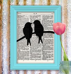 Lovebird Bird Art Print black bird silhouette vintage dictionary art print Upcycled Artwork birds in love Easter art print...(How cute it would be for a wedding gift-post wedding day).